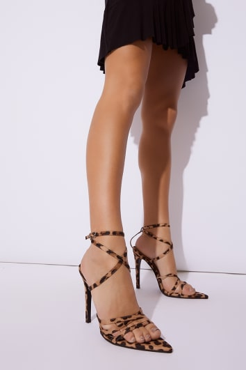leopard print strappy pointed sole heels