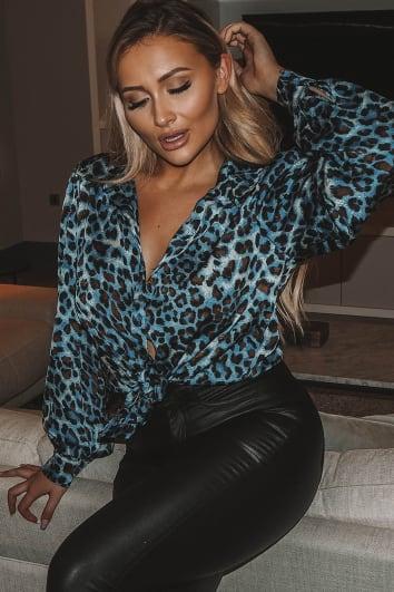 blue leopard print oversized shirt
