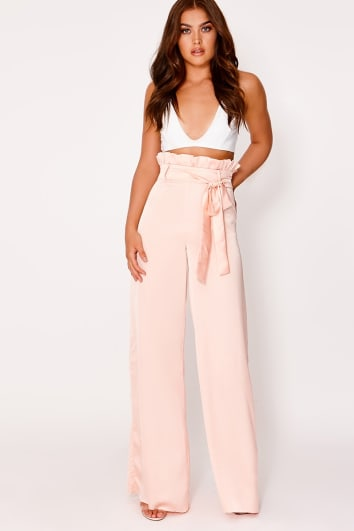 nude satin paperbag palazzo trousers
