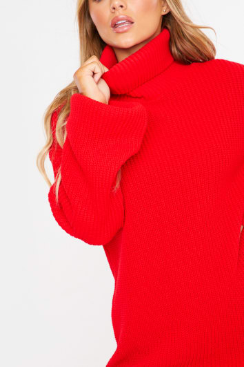 CHARLOTTE CROSBY RED LONGLINE JUMPER