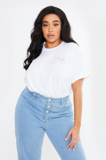 CURVE CHESSIE KING WHITE 'PINKY PROMISE' BOYFRIEND FIT T SHIRT