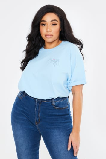 CURVE CHESSIE KING BLUE 'PINKY PROMISE' BOYFRIEND FIT T SHIRT