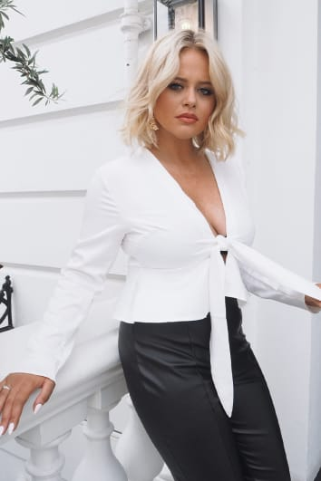 EMILY ATACK WHITE SATIN TIE FRONT TOP