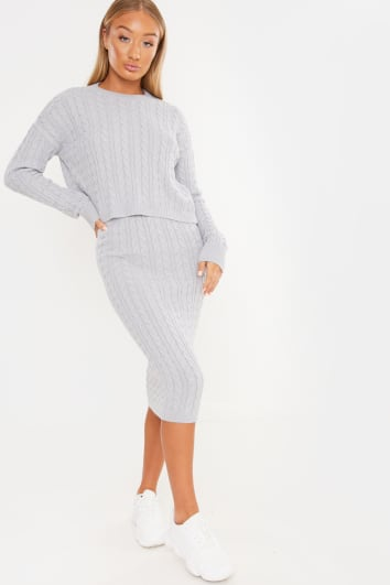 LAILA LOVES GREY MARL CABLE KNIT MIDI SKIRT