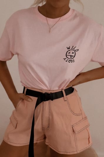 LOTTIE TOMLINSON PINK TOPSTITCH BELTED HIGH WAISTED UTILITY POCKET SHORTS