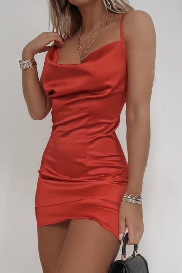FASHION INFLUX RED SATIN ASYMMETRIC COWL NECK MINI DRESS