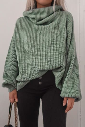 FASHION INFLUX MINT ROLL NECK SLOUCHY JUMPER