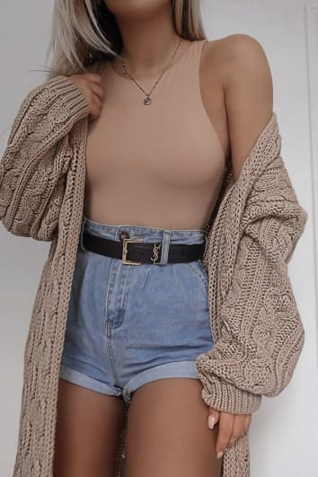 FASHION INFLUX STONE CABLE KNIT MIDAXI CARDGIAN