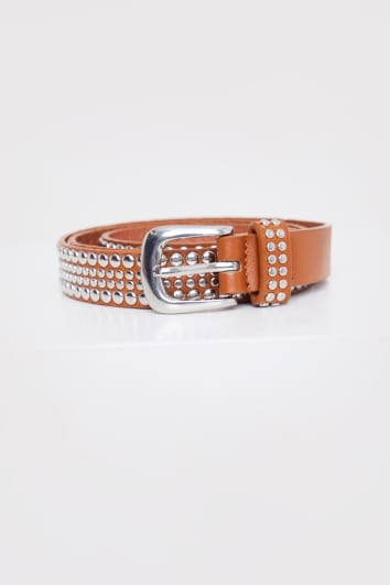 THIN TAN BELT WITH SILVER BUCKLE