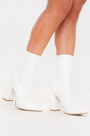 WHITE PU POINTED SOCK BOOTS