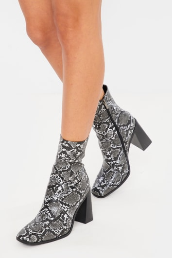 CHARCOAL SNAKE PRINT SQUARE HEEL & TOE ANKLE BOOTS