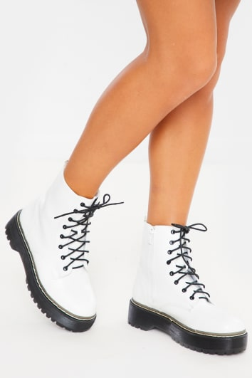 white chunky platform ankle boots