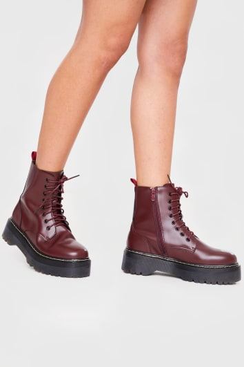 BURGUNDY CHUNKY PLATFORM ANKLE BOOTS