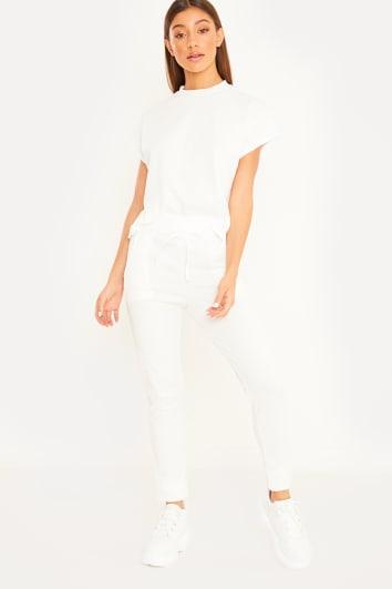 white ribbed loungewear set