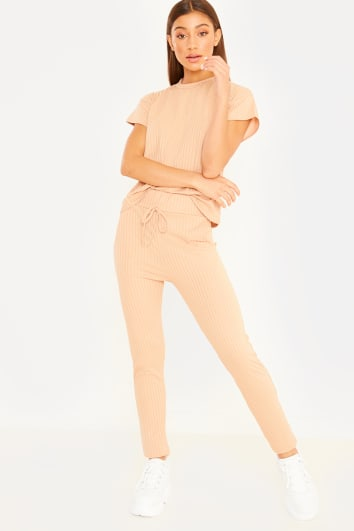 camel ribbed loungewear set