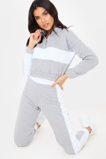 GREY CROPPED HALF ZIP DETAIL SWEATER AND JOGGERS LOUNGEWEAR SET
