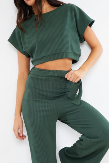 KHAKI TEXTURED CROP TOP AND TIE WAIST TROUSER LOUNGEWEAR SET