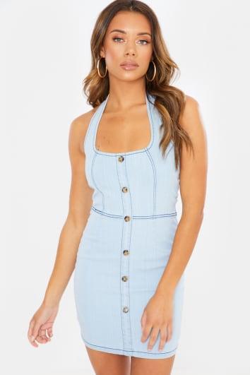 PALIA BLUE WASH DENIM BUTTON DOWN HALTERNECK DRESS