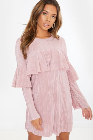 dusky pink plisse dress