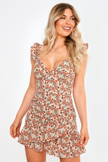nude floral ruffle hem mini dress