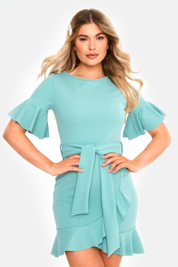 sage frill tie waist mini dress