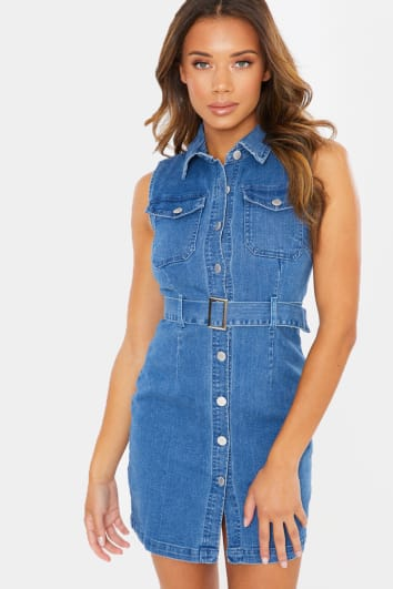 EVAH SLEEVELESS BUTTON DOWN BELT DETAIL DENIM MINI DRESS