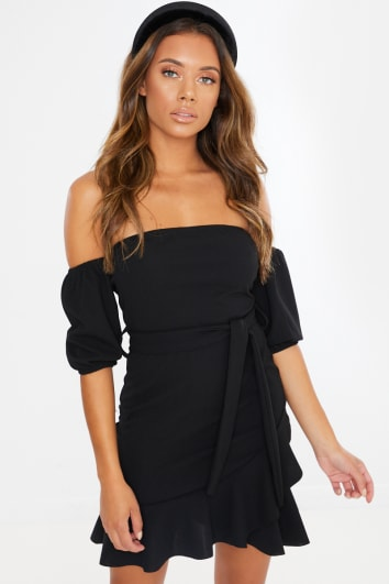BLACK BARDOT PUFF SLEEVE MINI DRESS