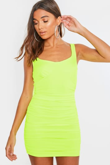 green ruched side bodycon mini dress