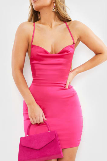 bright pink satin lace up back mini dress