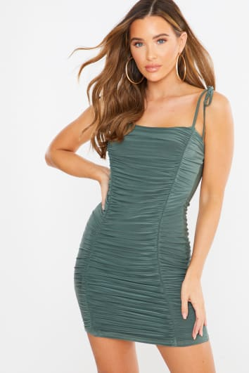khaki slinky ruched cami mini dress