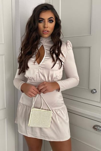 cream satin puff sleeve key hole plunge mini dress