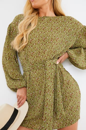 GREEN PLISSE FLORAL PUFF SLEEVE BELTED MINI DRESS