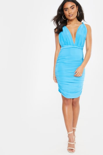 DUAA PALE BLUE WEAR ME ANY WAY MINI DRESS