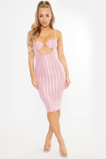 DESSANDRA PINK UNDERWIRED CUT OUT MESH STRIPE MIDI DRESS