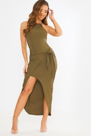 khaki ribbed wrap midi dress
