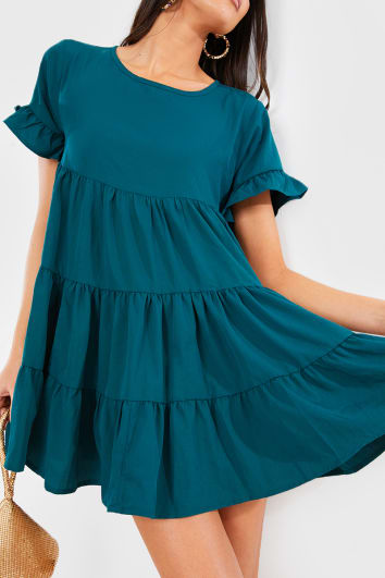 SARENYA TEAL FRILL LAYERED SMOCK DRESS