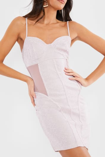 OLA PINK METALLIC MESH PANEL MINI DRESS