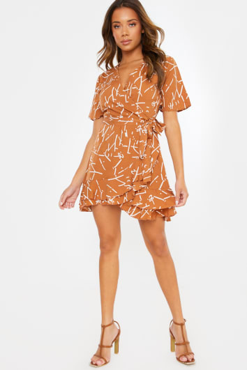 BROWN ABSTRACT PRINT WRAP MINI DRESS