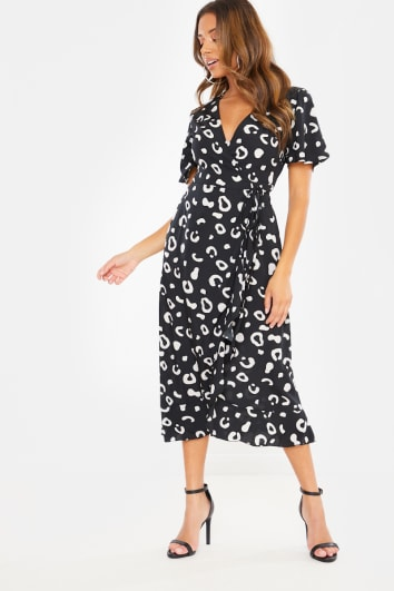 BLACK LEOPARD WRAP MIDI DRESS