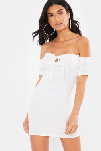 WHITE MILKMAID PUFF SLEEVE MINI DRESS
