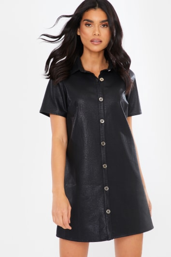 BLACK PU BUTTON DOWN DETAIL SHORT SLEEVE MINI DRESS