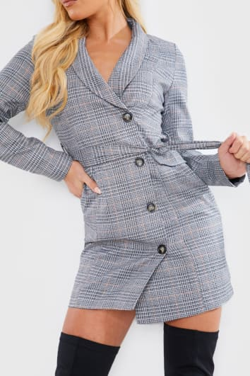 GREY HERITAGE CHECK TWILL BLAZER DRESS