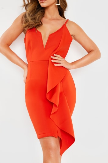 ORANGE V DETAIL FRILL MINI DRESS