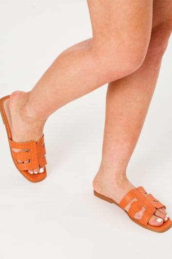 orange croc sliders
