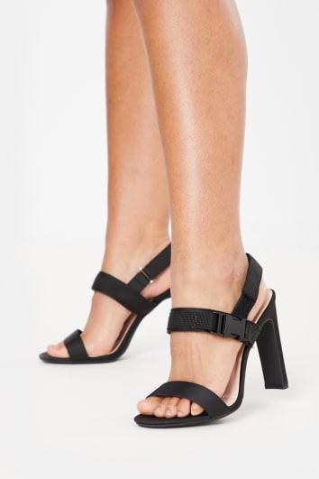 black buckle strap velcro heels