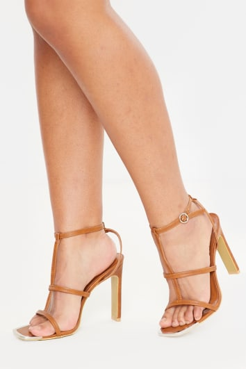 tan deep triple strap pu heels