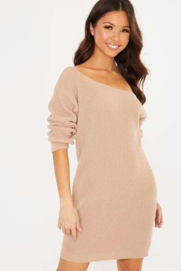 CAMEL OFF SHOULDER MINI DRESS