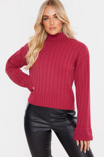 RASPBERRY HIGH NECK RIBBED JUMPER