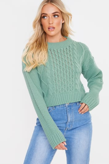 LIGHT GREEN CABLE CROPPED JUMPER