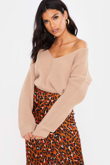 CAMEL V NECK CROPPED JUMPER